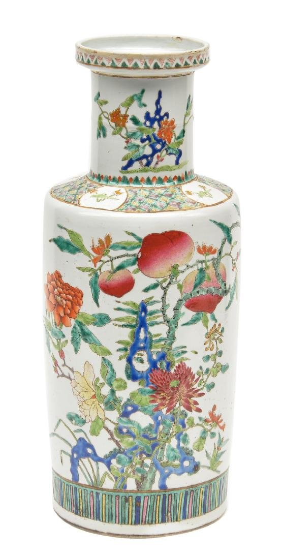 A Chinese polychrome rouleau shaped vase, decorated