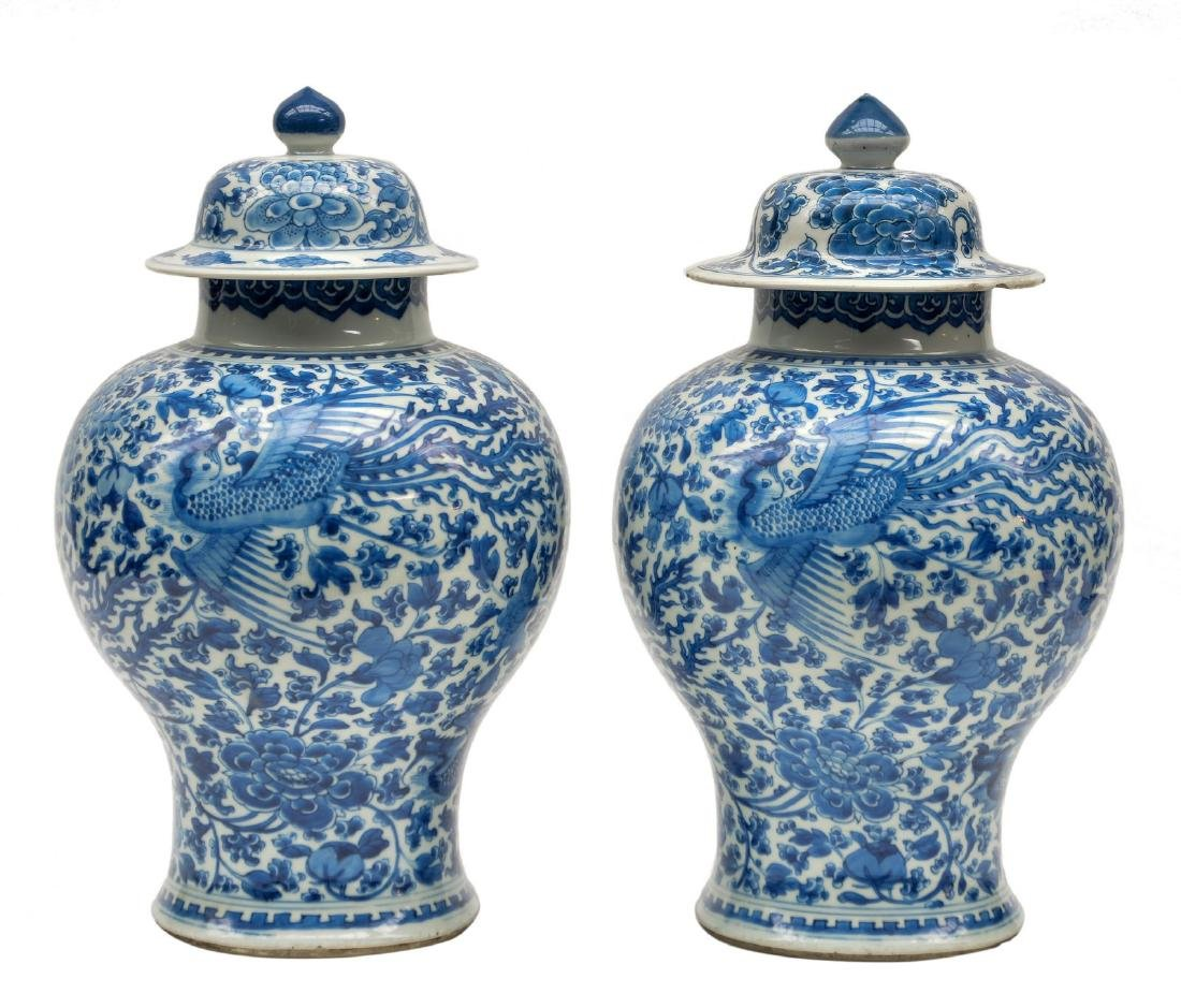 Two Chinese blue and white vases and covers, decorated