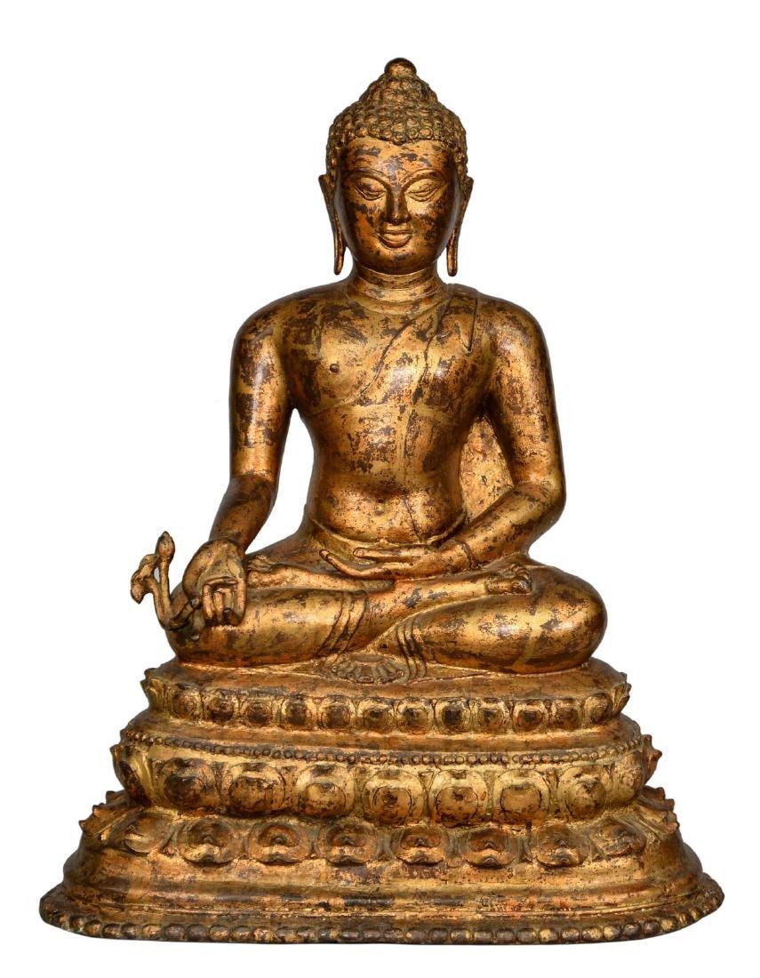 An Oriental gilt bronze Buddha, H 68 - W 55,5 cm