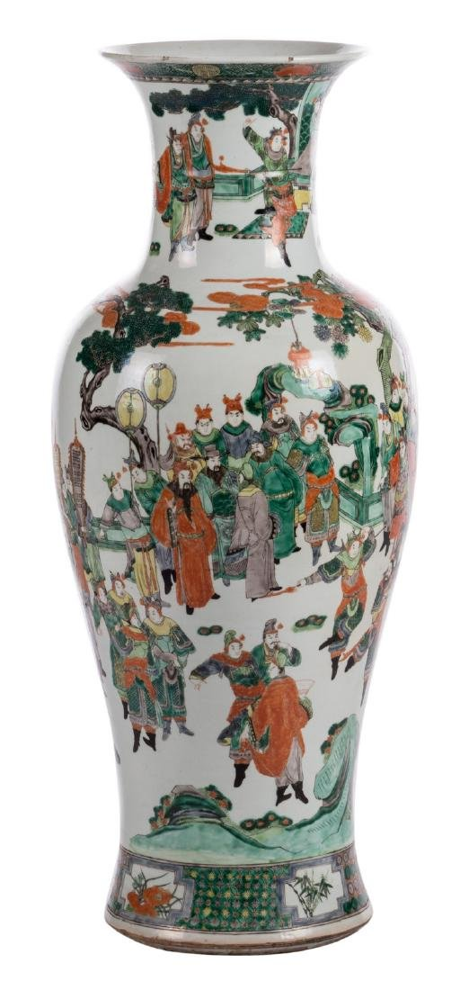 A Chinese famille verte baluster shaped vase, decorated