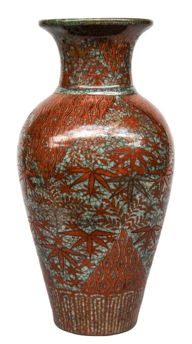 An Oriental polychrome crackleware vase, H 48,5 cm