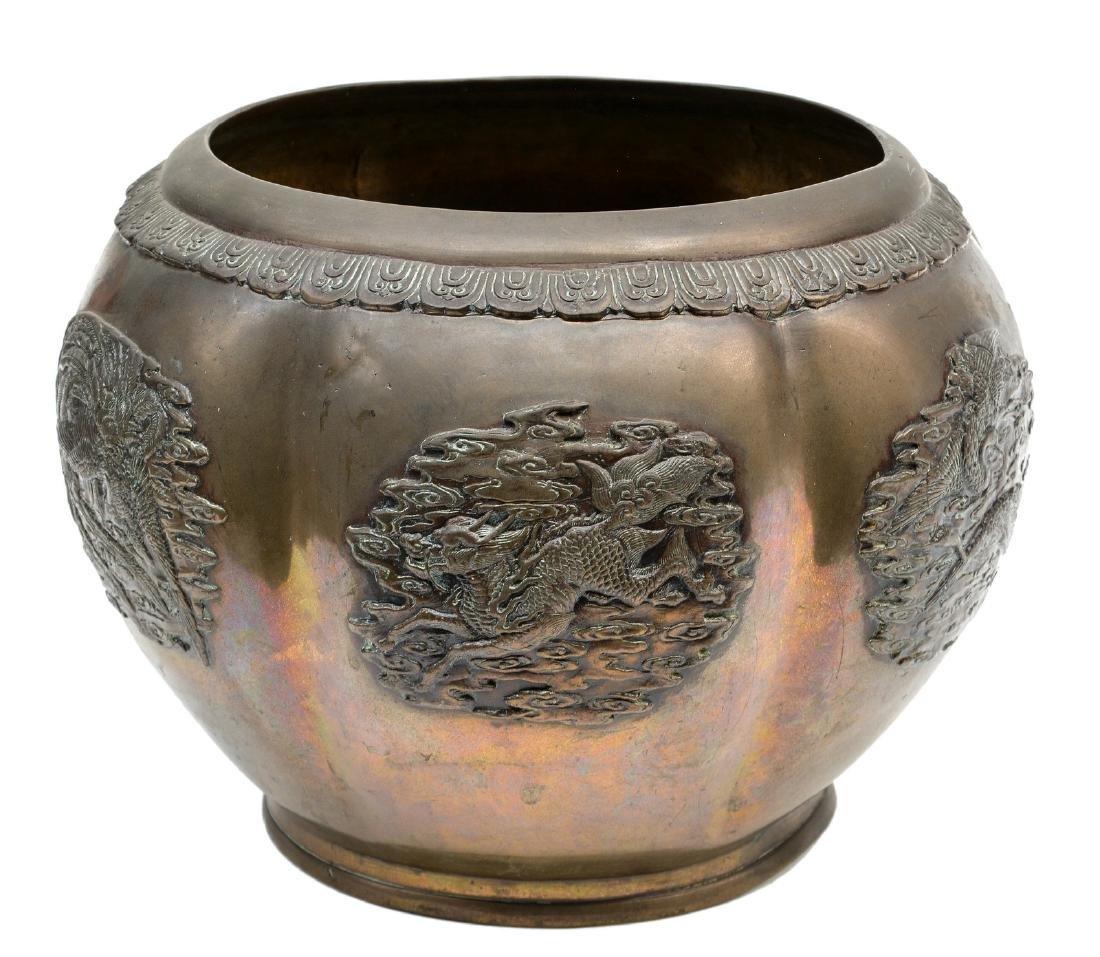 An Oriental brass flowerpot, H 23 - Diameter 32 cm