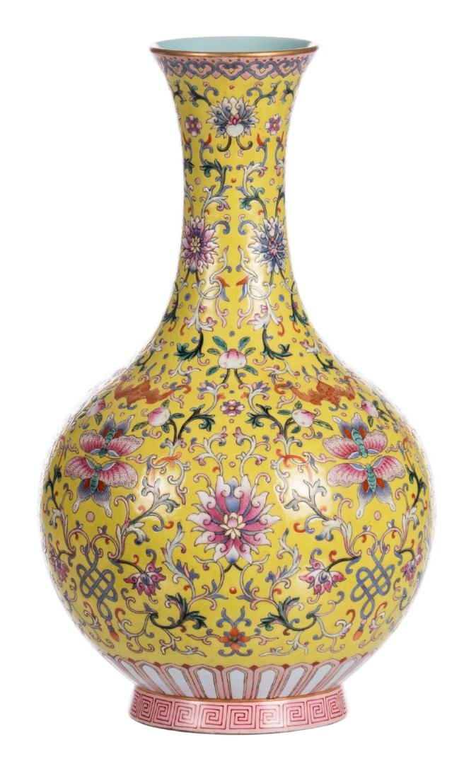 A Chinese yellow ground famille rose bottle vase,