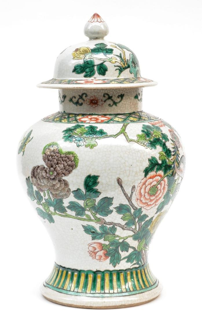 A Chinese famille verte stoneware vase with cover, - 4