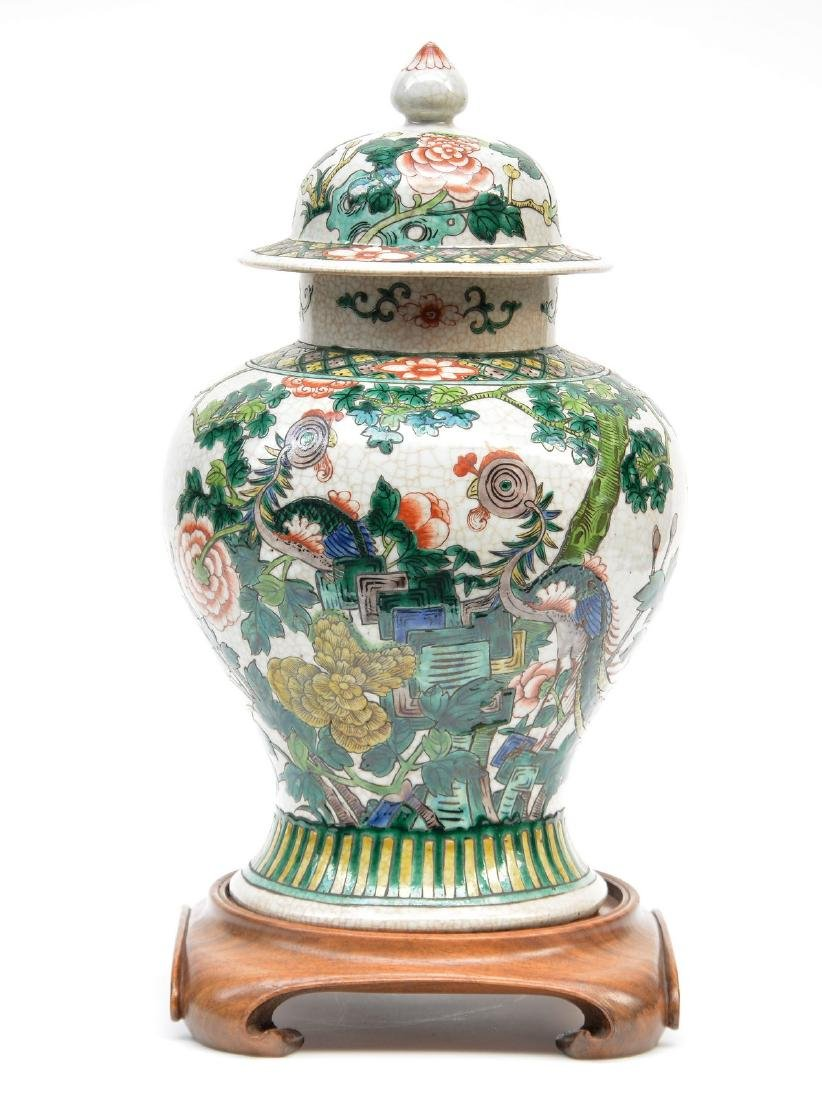 A Chinese famille verte stoneware vase with cover, - 5