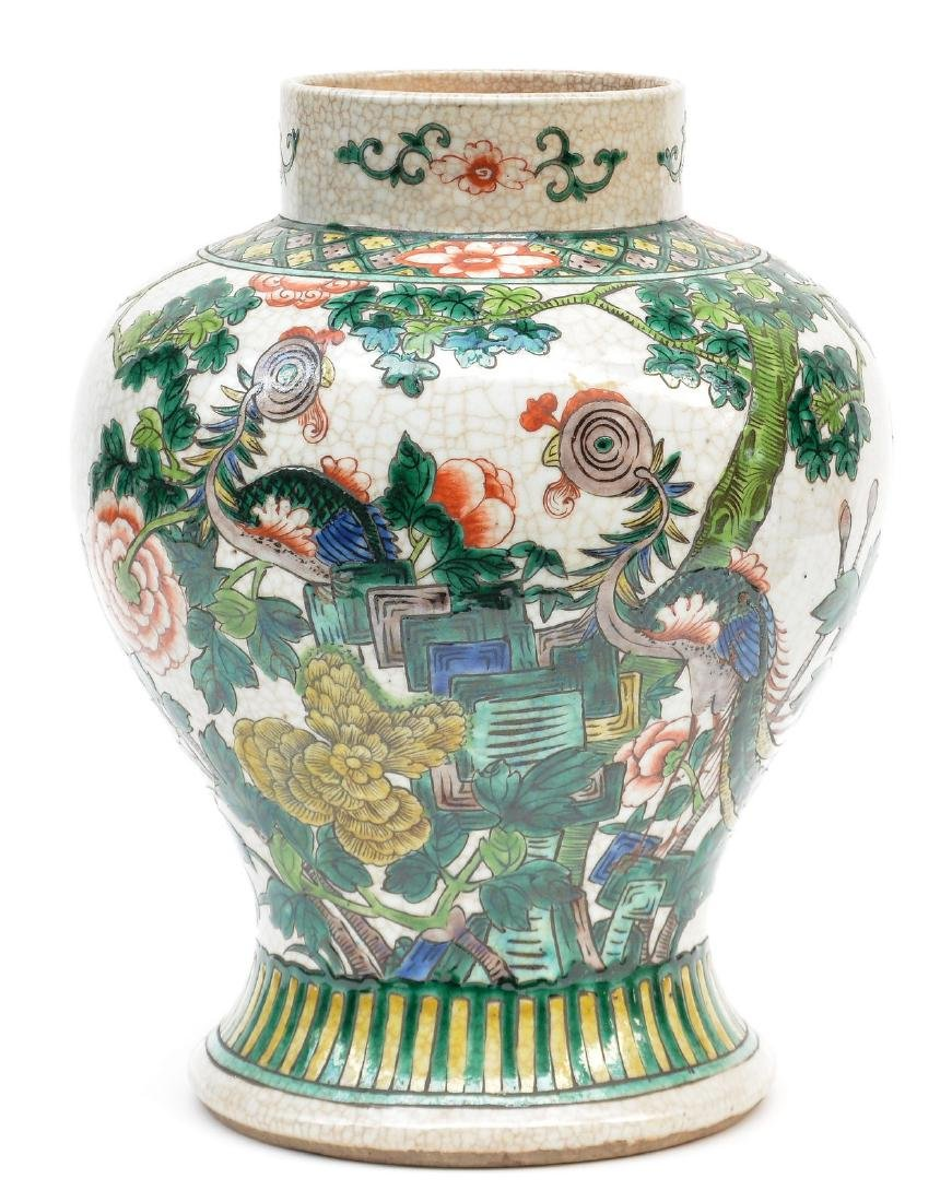 A Chinese famille verte stoneware vase with cover, - 6