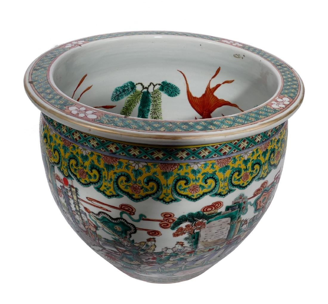 A Chinese famille verte fish bowl, decorated with a