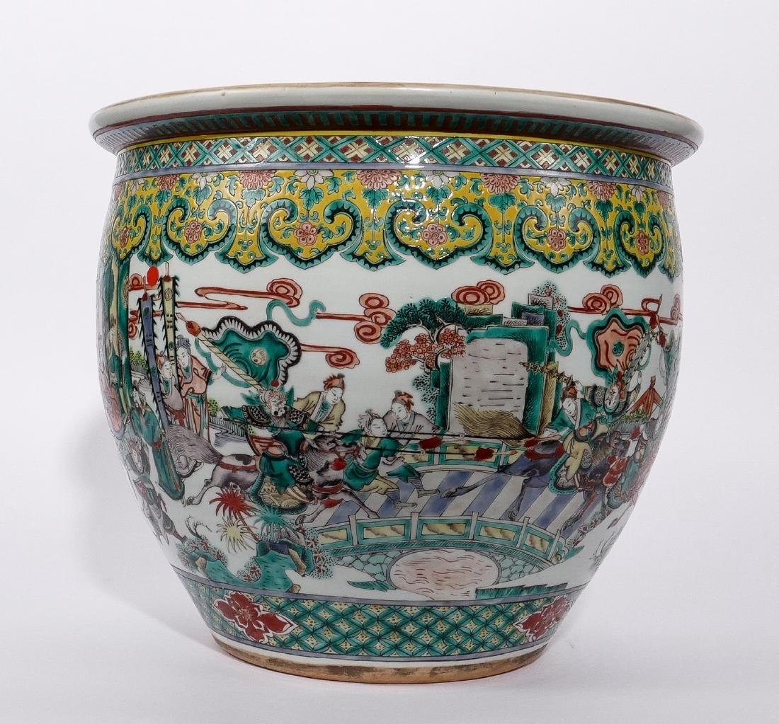 A Chinese famille verte fish bowl, decorated with a - 2
