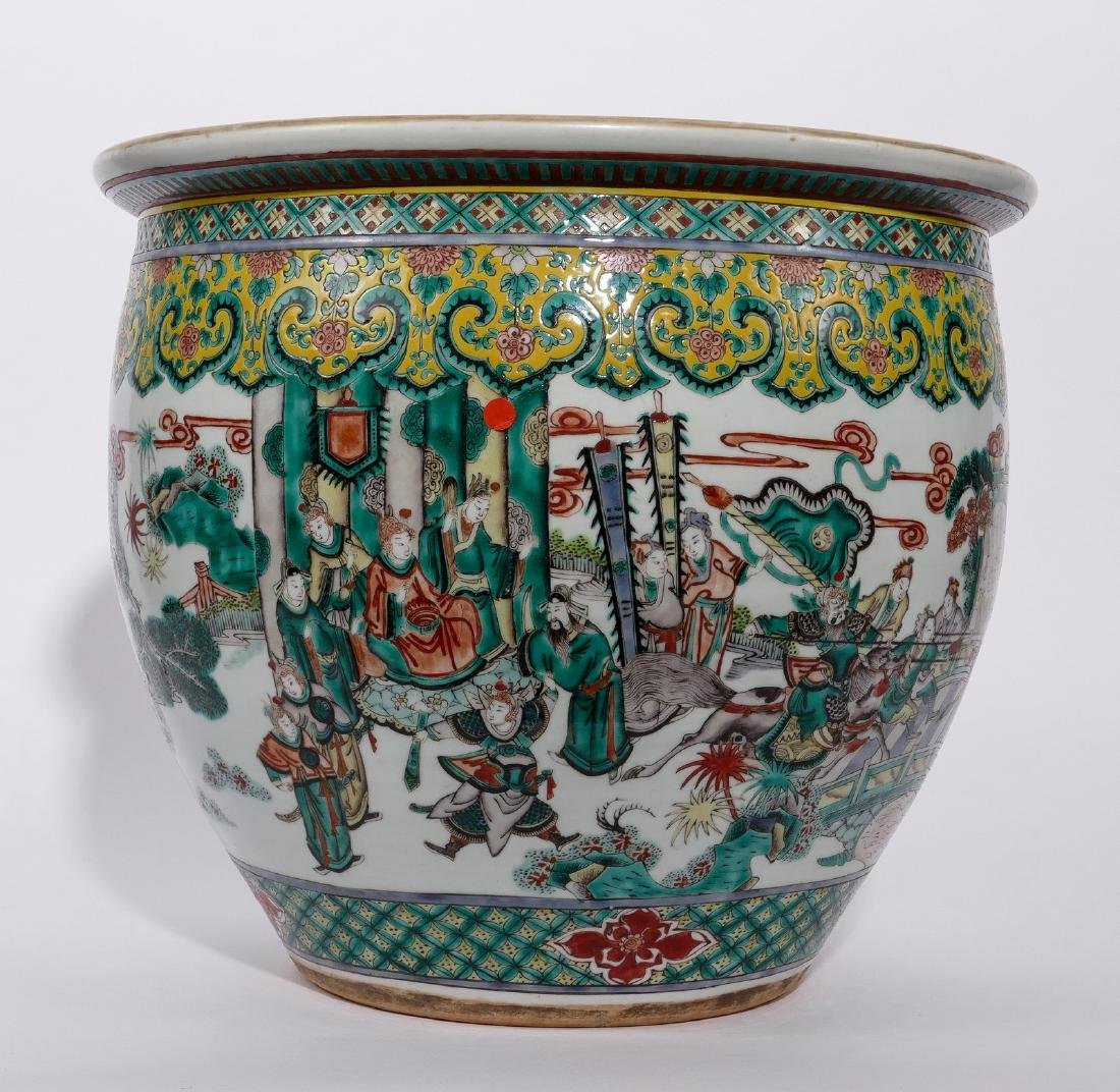 A Chinese famille verte fish bowl, decorated with a - 3
