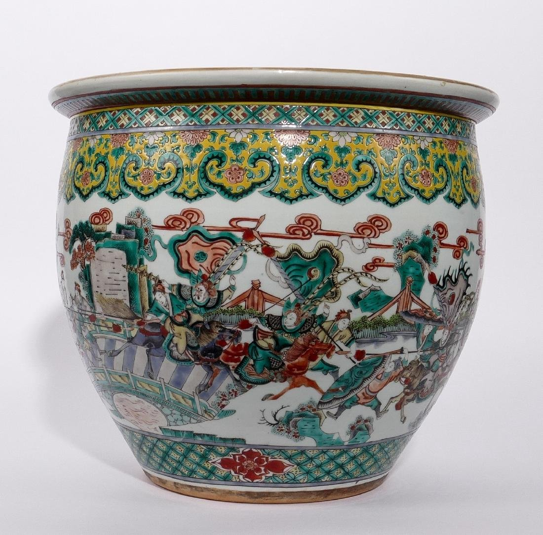 A Chinese famille verte fish bowl, decorated with a - 4