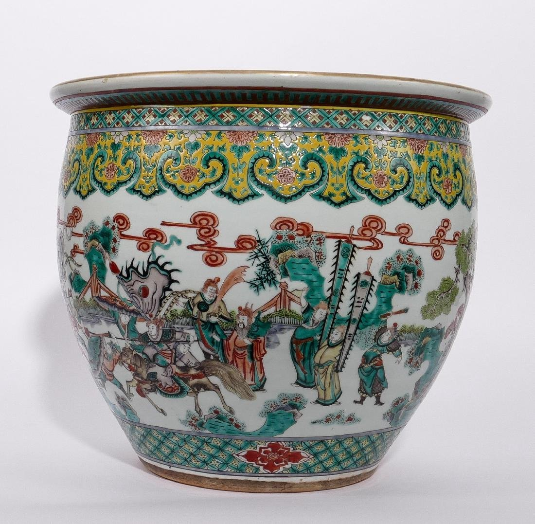 A Chinese famille verte fish bowl, decorated with a - 5