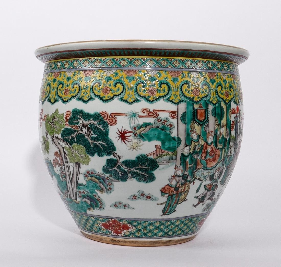 A Chinese famille verte fish bowl, decorated with a - 6