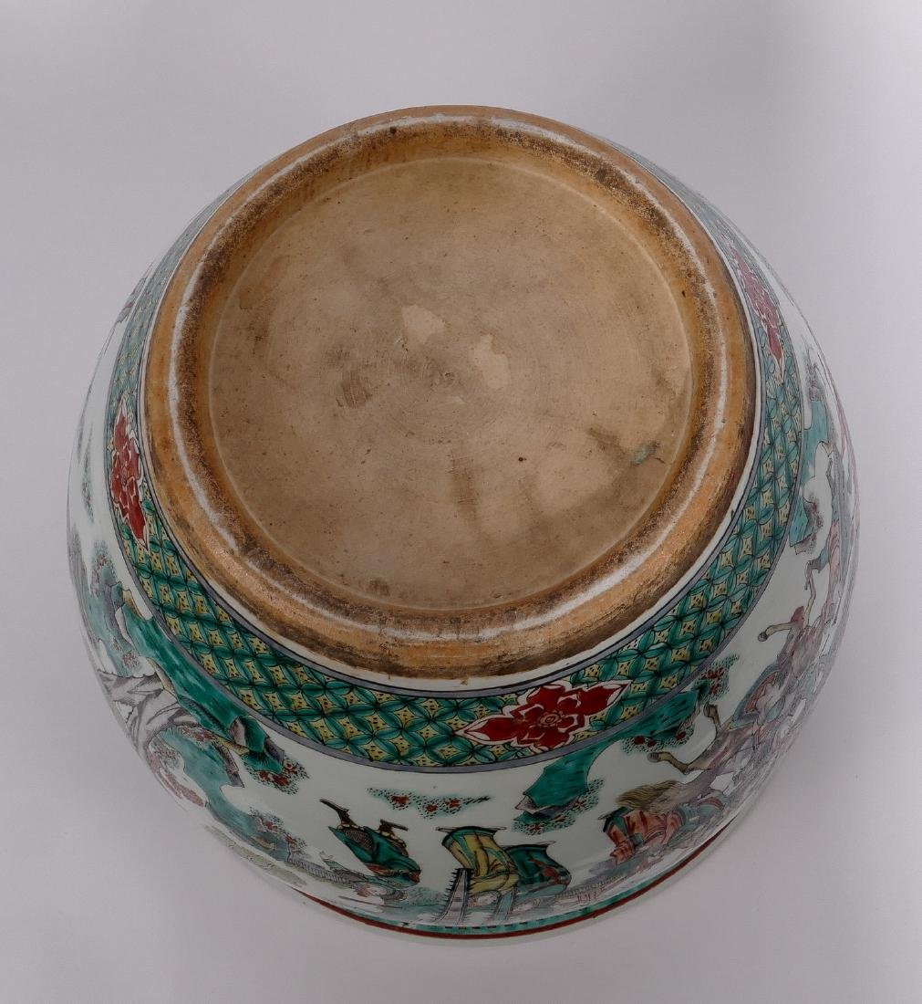 A Chinese famille verte fish bowl, decorated with a - 7