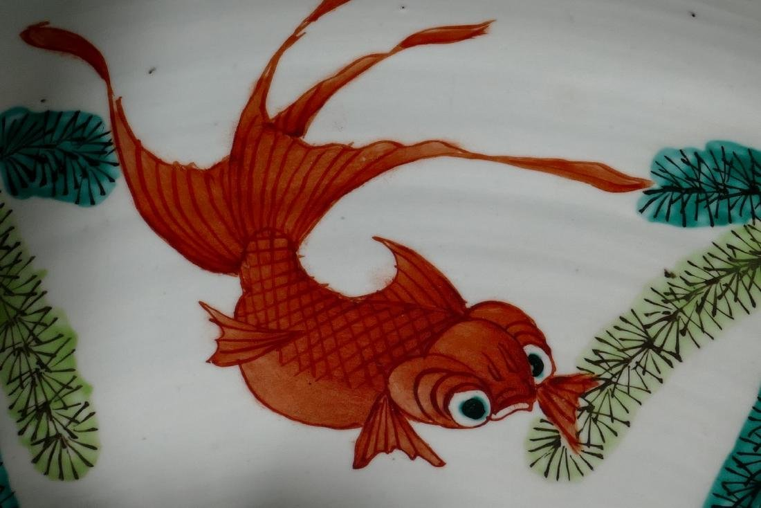 A Chinese famille verte fish bowl, decorated with a - 8