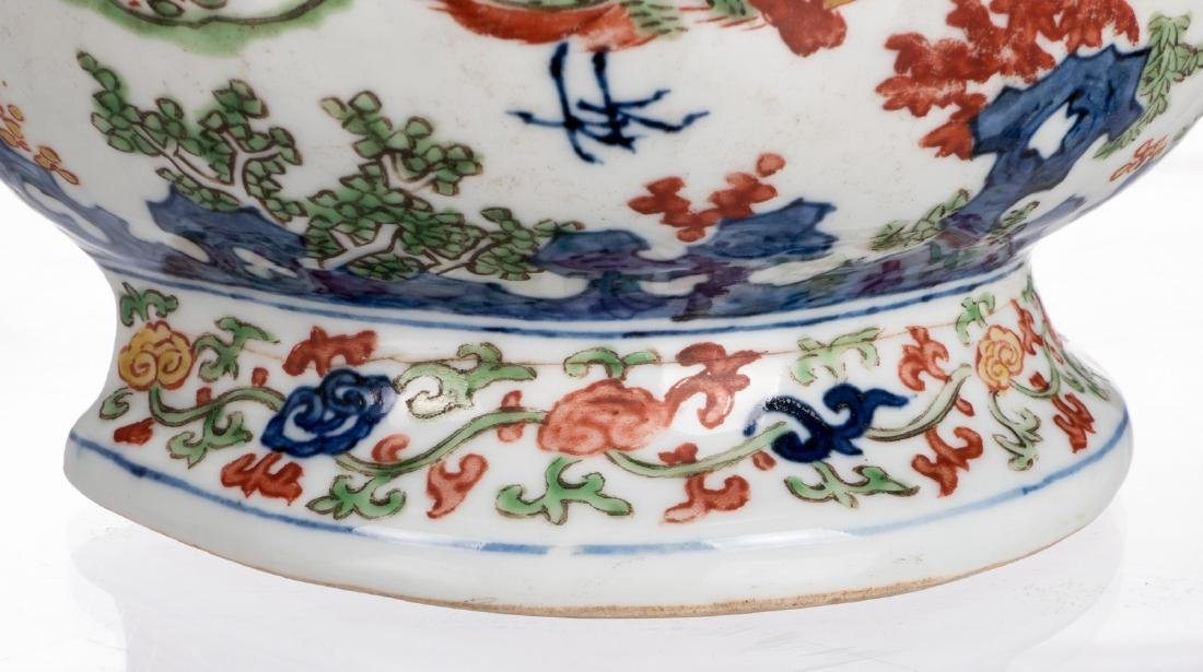 A Chinese wucai double gourd mural vase with phoenix, - 7