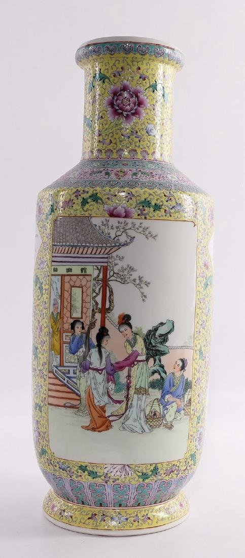 A Chinese yellow ground famille rose rouleau shaped - 3