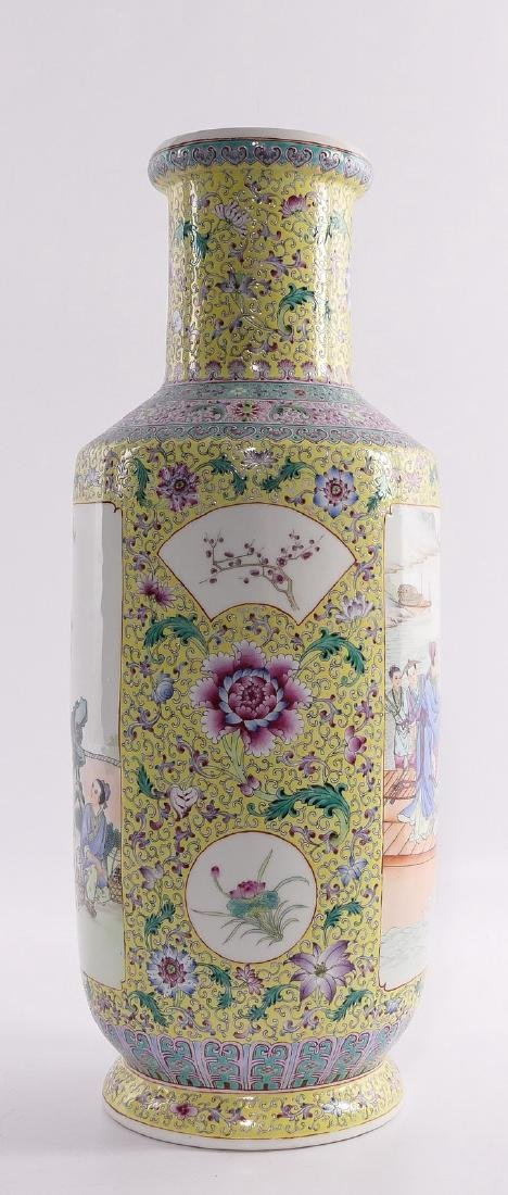 A Chinese yellow ground famille rose rouleau shaped - 4