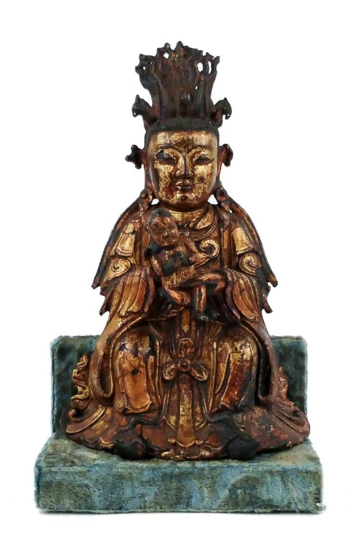 A Chinese bronze and gilt lacquered Bodhisattva and