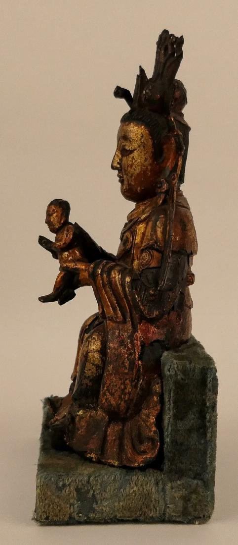 A Chinese bronze and gilt lacquered Bodhisattva and - 2