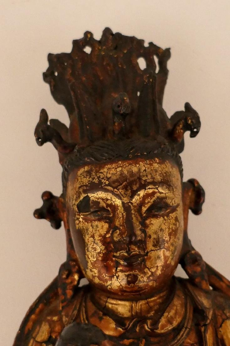A Chinese bronze and gilt lacquered Bodhisattva and - 8