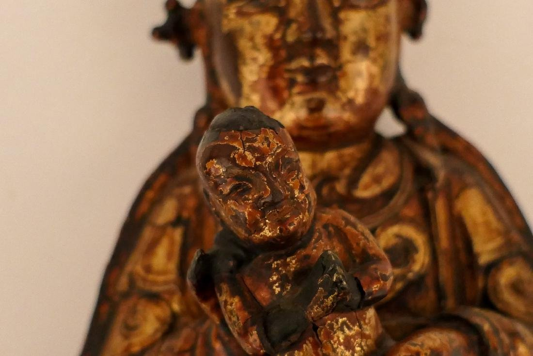A Chinese bronze and gilt lacquered Bodhisattva and - 9