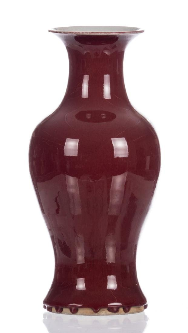 A Chinese sang-de-boeuf baluster vase, H 39 cm - 3
