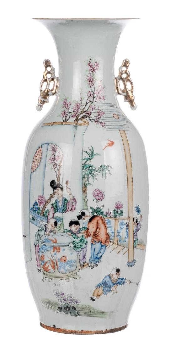 A Chinese famille rose vase, decorated with children