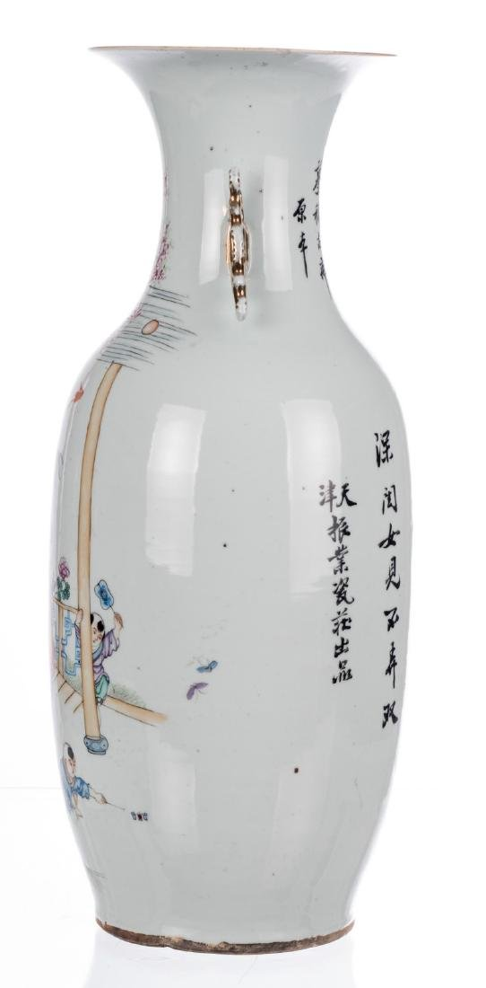 A Chinese famille rose vase, decorated with children - 2