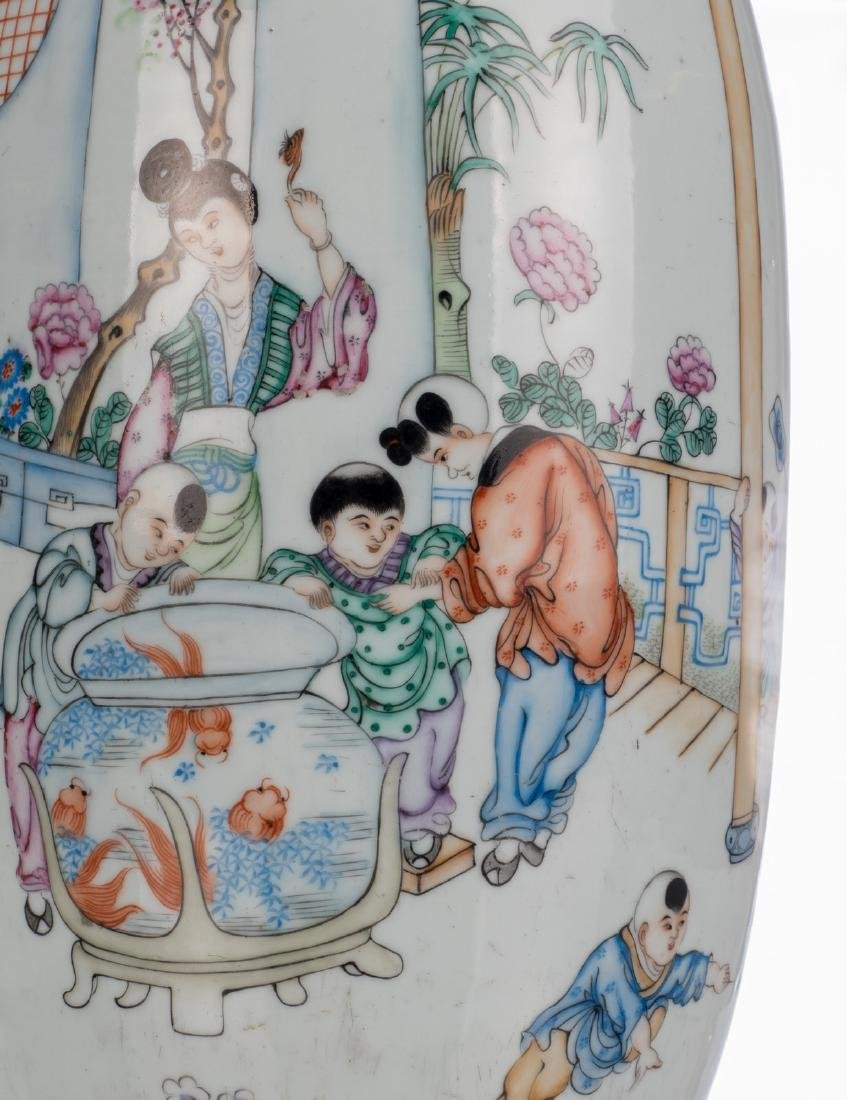 A Chinese famille rose vase, decorated with children - 7