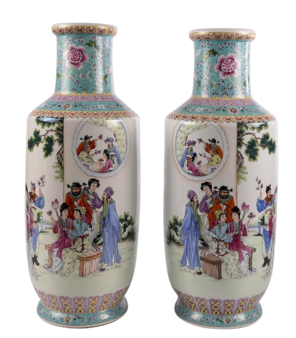 A pair of Chinese famille rose and polychrome rouleau