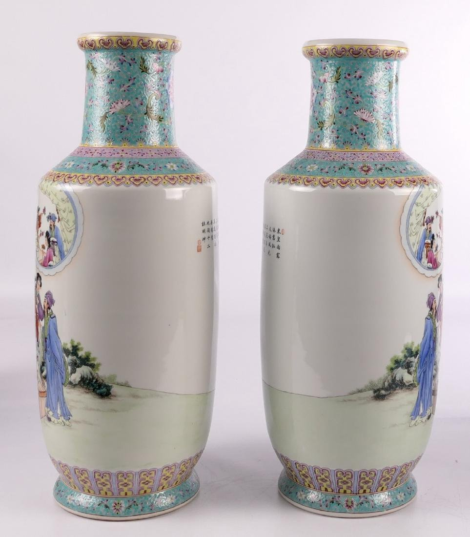 A pair of Chinese famille rose and polychrome rouleau - 3