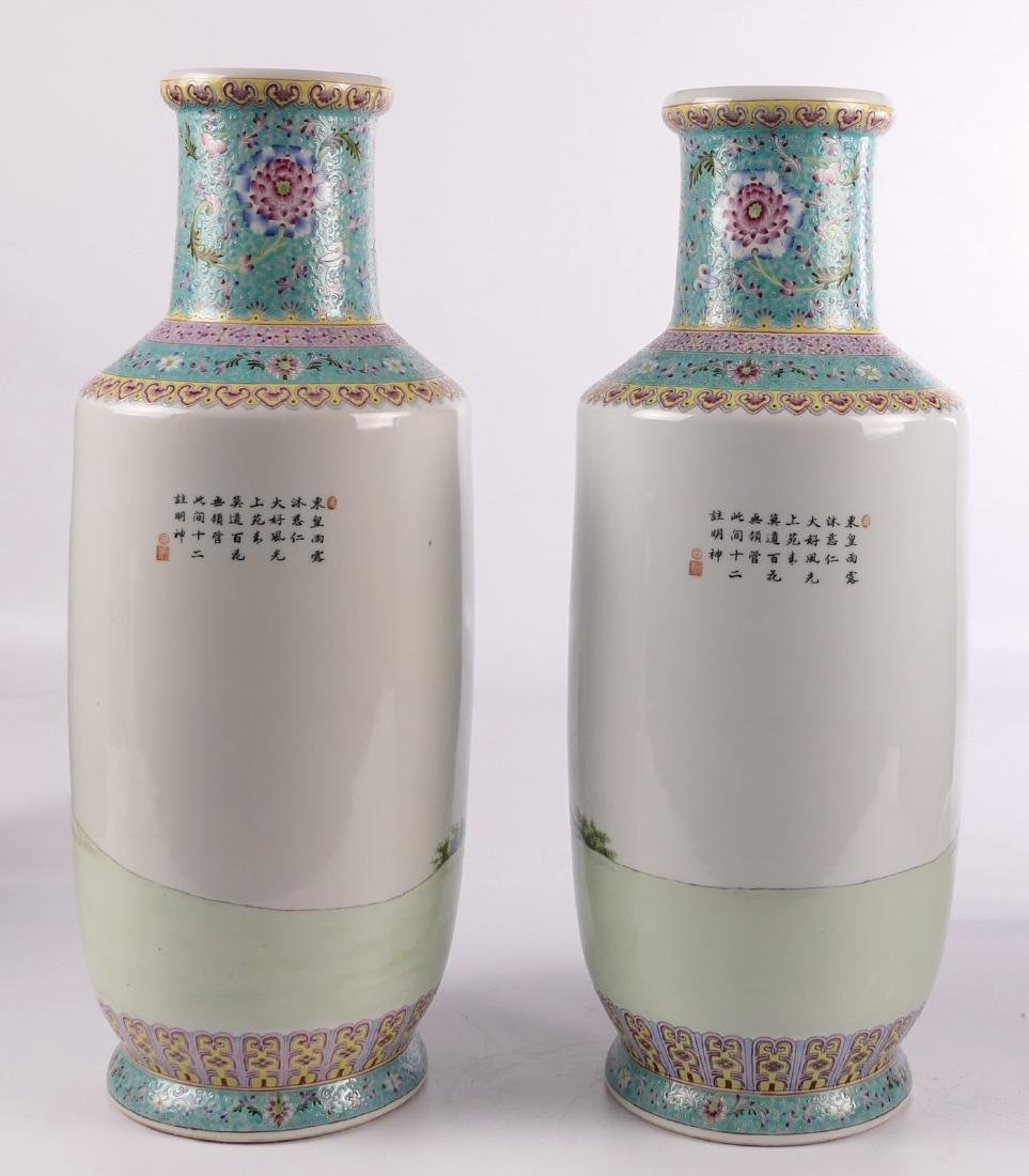 A pair of Chinese famille rose and polychrome rouleau - 4