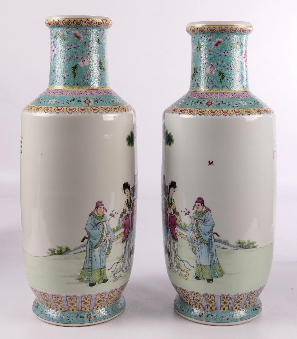 A pair of Chinese famille rose and polychrome rouleau - 5
