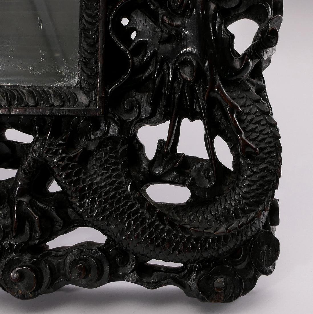 A Chinese richly carved hardwood framed mirror, - 5