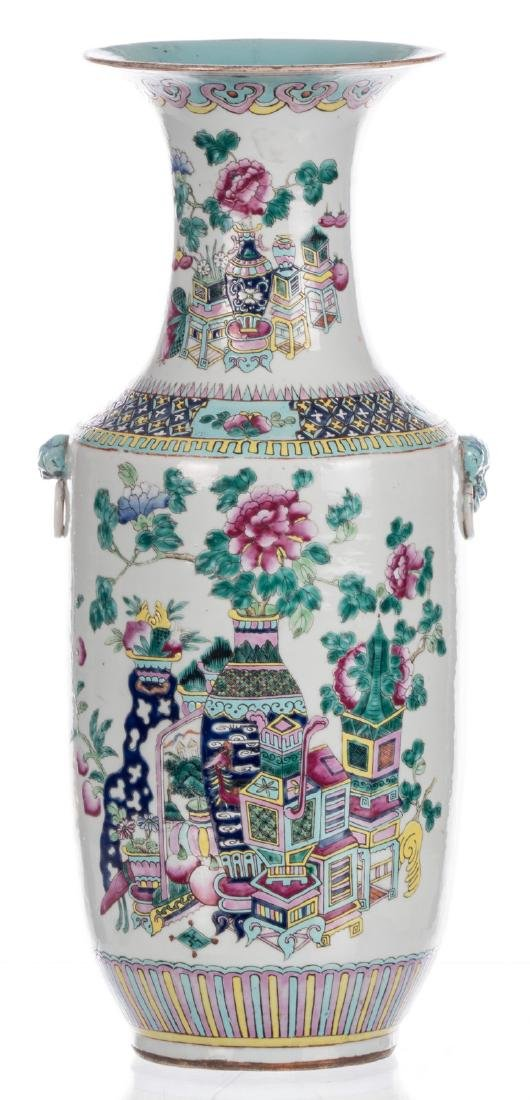 A Chinese famille rose and polychrome vase, decorated - 3
