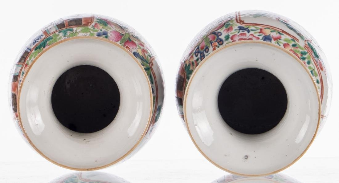A pair of Chinese famille rose vases, decorated with a - 6
