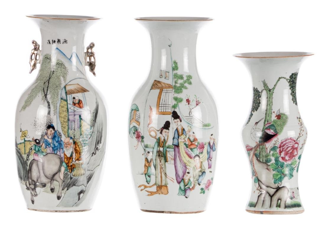 Two Chinese famille rose and polychrome decorated vases
