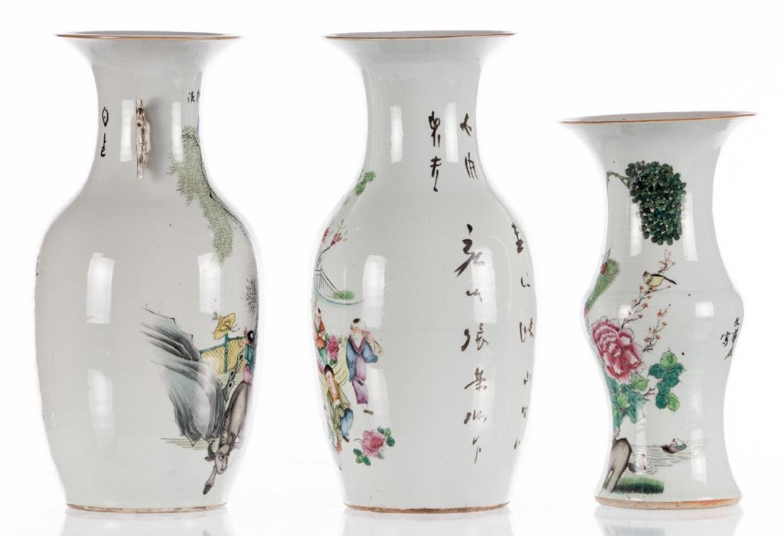 Two Chinese famille rose and polychrome decorated vases - 4