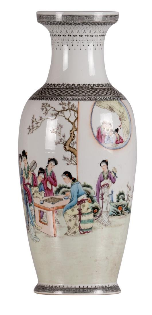 A Chinese polychrome decorated vase with an elegant
