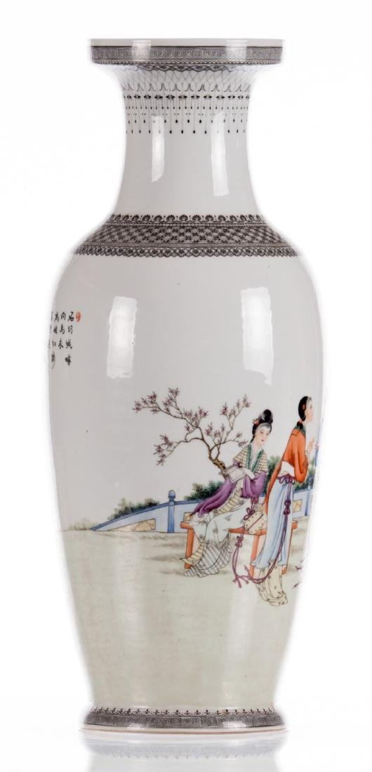 A Chinese polychrome decorated vase with an elegant - 3