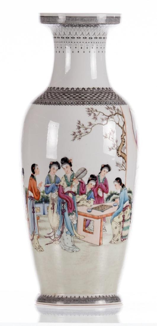 A Chinese polychrome decorated vase with an elegant - 4