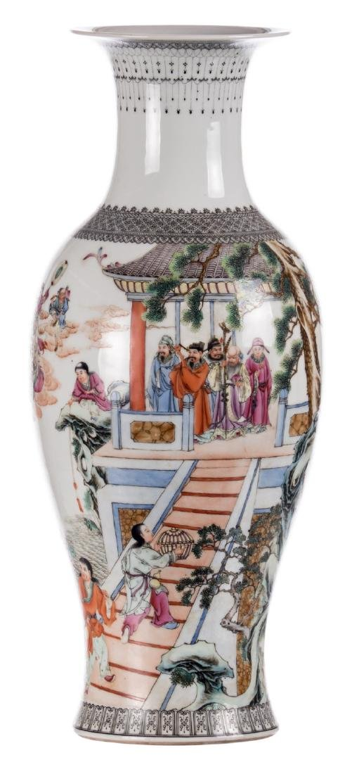 A Chinese baluster shaped vase, overall polychrome