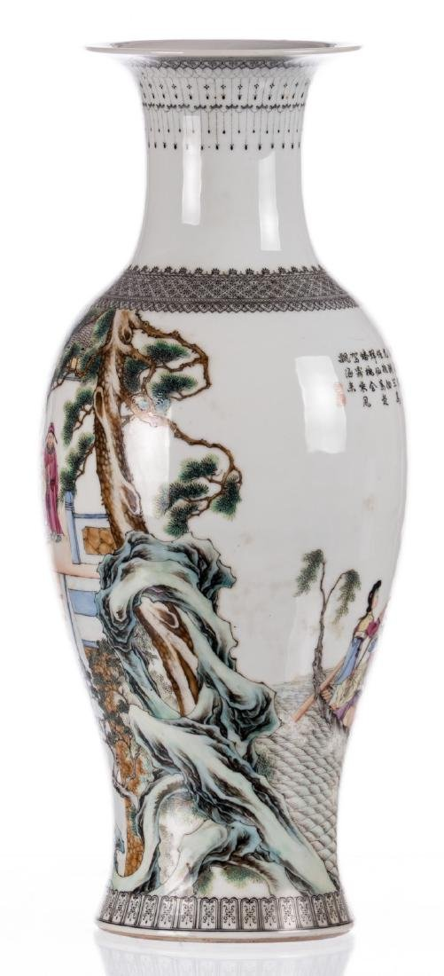A Chinese baluster shaped vase, overall polychrome - 2