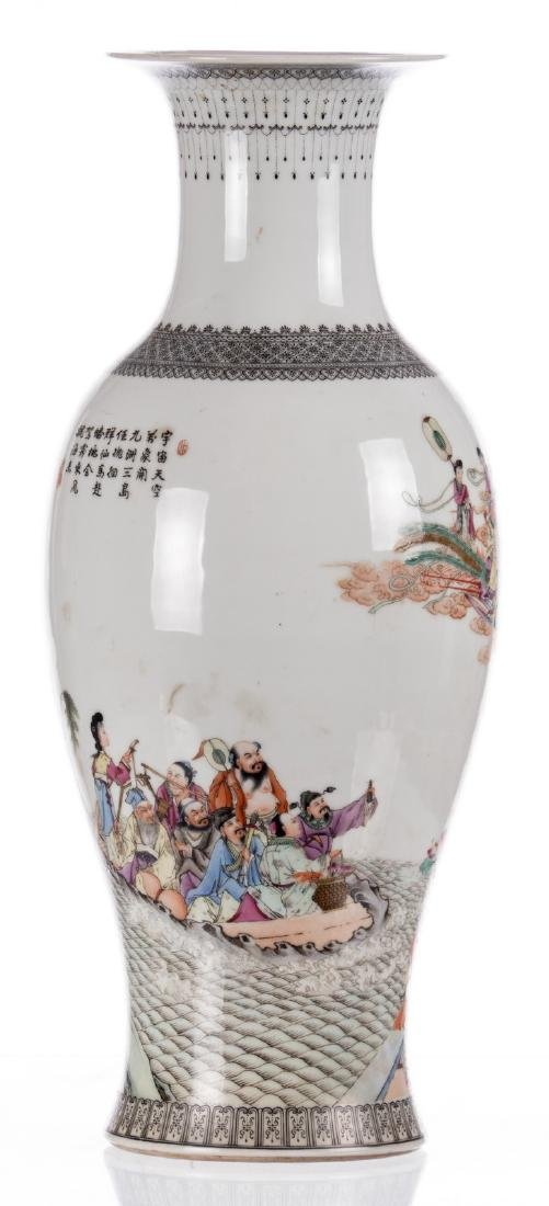 A Chinese baluster shaped vase, overall polychrome - 3