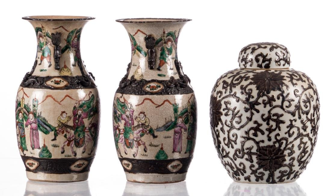 A pair of Chinese stoneware polychrome vases, decorated - 2