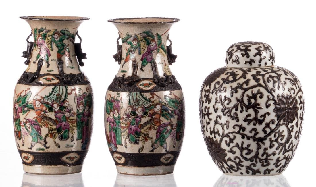 A pair of Chinese stoneware polychrome vases, decorated - 3