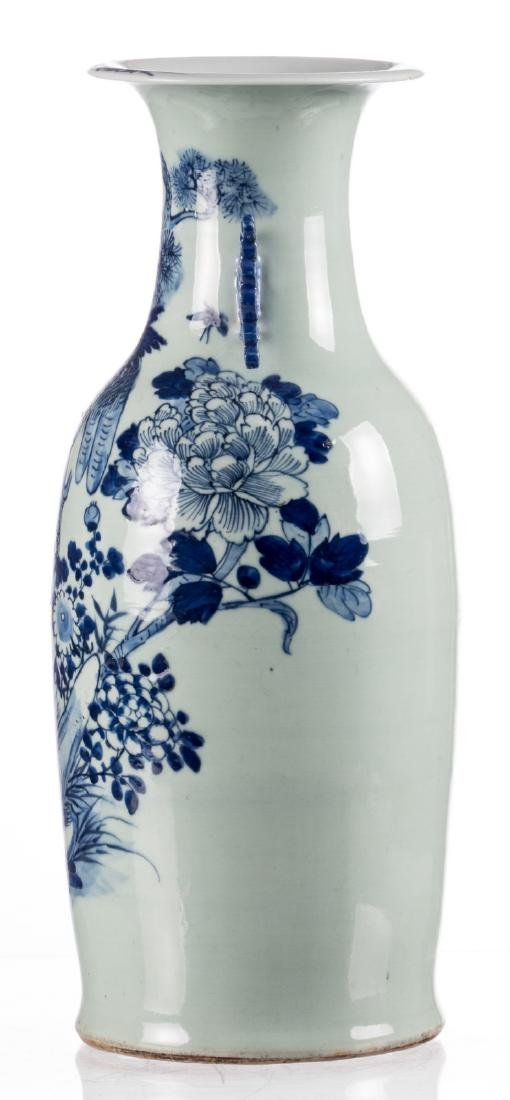 A Chinese celadon ground blue and white vase, decorated - 2