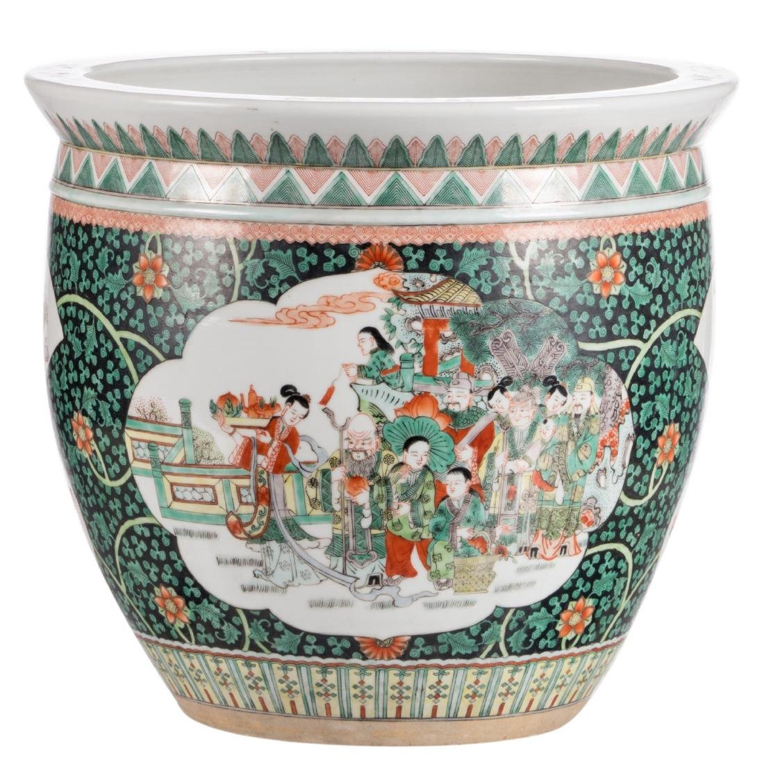A Chinese famille verte cache-pot, the roundels