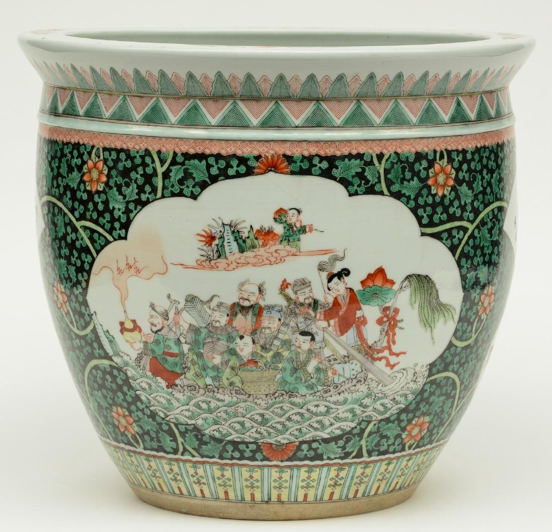 A Chinese famille verte cache-pot, the roundels - 2
