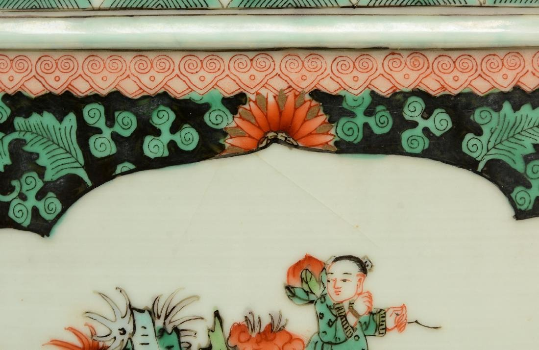 A Chinese famille verte cache-pot, the roundels - 7